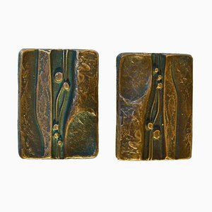 Bronze Rectangular Door Handles for Double Doors with Nature Relief Design, Set of 2
