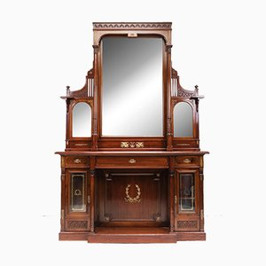 Grande Table Console Antique avec Miroir, 1910s