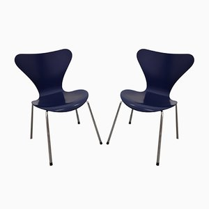 Vintage Model 3107 Chairs by Arne Jacobsen for Fritz Hansen, 1980s, Set of 2