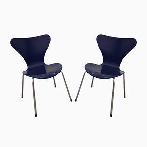 Vintage Modell 3107 Stühle von Arne Jacobsen für Fritz Hansen, 1980er, 2er Set