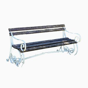 Vintage English Wrought Iron and Wooden Garden Bench