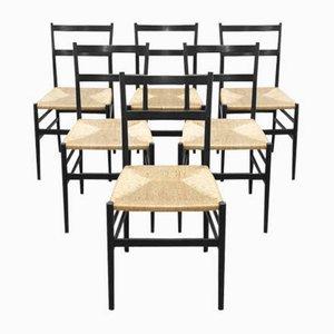 Modell 646 Leggera Esszimmerstühle von Gio Ponti für Cassina, 1970er, 6er Set
