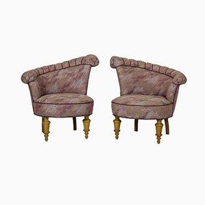 Asymmetrische dänische Armlehnstühle im Stil von Kagan, 1950er, 2er Set