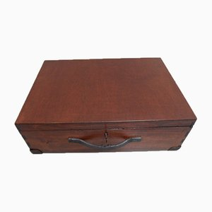 Vintage Wooden Box with Leather Handle, 1930s