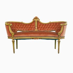 Divano vintage in stile Luigi XVI in legno e tessuto dorato, Francia, anni '70