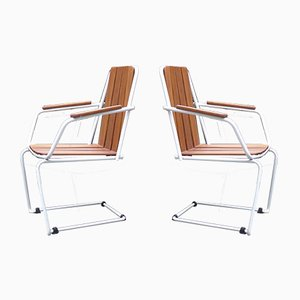 Mid-Century Dänische Freischwinger Gartenstühle aus Teakholz und Stahl von Daneline, 2er Set