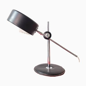 Mid-Century Black Leather and Chrome Table Lamp by Anders Pehrson for Ateljé Lyktan, 1970s