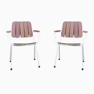 Mid-Century Scandinavian Teak and Tubular Steel Stacking Garden Chairs from Daneline, 1960s, Set of 2