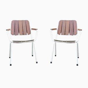 Mid-Century Skandinavische Stapelbare Gartenstühle aus Teakholz und Stahlrohr von Daneline, 1960er, 2er Set