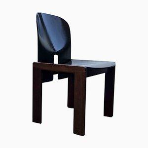 Sedie da pranzo modello 121 in legno di noce laccato marrone scuro di Tobia & Afra Scarpa per Cassina, anni '60, set di 4