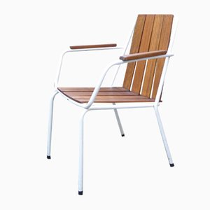 Mid-Century Scandinavian Teak and Tubular Steel Stacking Garden Chair from Daneline, 1960s