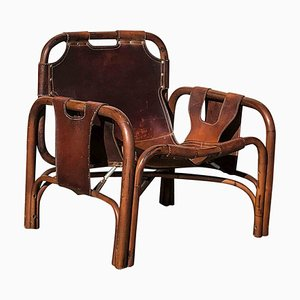 Mid-Century Italian Leather and Bamboo Lounge Chairs by Tito Agnoli, 1960s, Set of 2