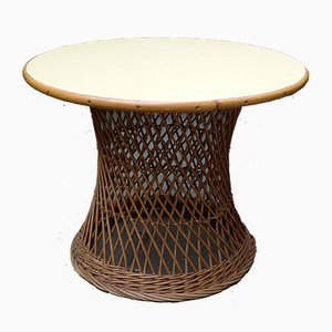 Mid-Century Round Bamboo and Wicker Garden Table with Yellow Top
