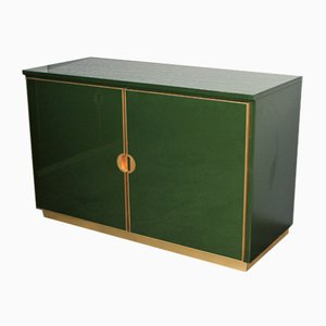 Vintage Italian Emerald Green and Brass Cabinet, 1970s
