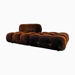 Brown Velvet Model Camaleonda Lounge Chair and Ottoman Set by Mario Bellini for B&B Italia / C&B Italia, 1970s