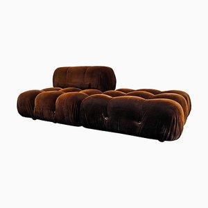Brown Velvet Model Camaleonda Lounge Chair and Ottoman Set by Mario Bellini for B&B Italia / C&B Italia, 1970s