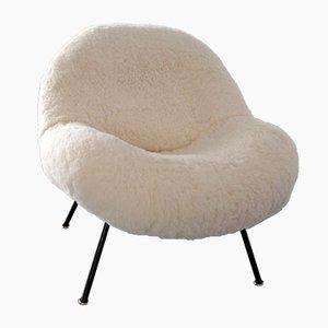 Club chair in pelle di pecora e acciaio di Fritz Neth, anni '50, set di 2
