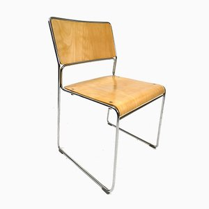 Vintage Chrome-Plated Plywood Stacking Chairs, 1970s, Set of 5