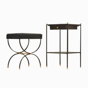 French Midcentury Console & Stool by Jacques Adnet, Set of 2