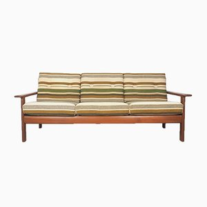 Mid-Century Danish Teak Sofa with Green Striped Cushions, 1960s