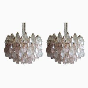 Paar Deckenlampen in Rosa & Klarglas von Carlo Scarpa für Venini, 1950er, 2er Set