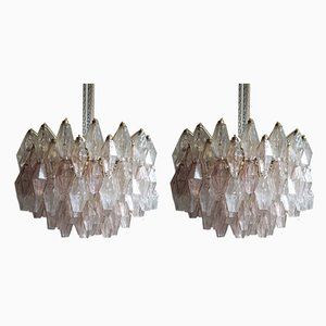 Pair of Pink and Clear Glass Poliedry Ceiling Lamps by Carlo Scarpa for Venini, 1950s, Set of 2