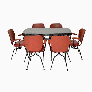 Vintage Atomic Style Dining Table & Chairs Set, 1950s, Set of 7
