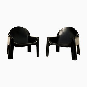 Space Age Italian Black Polyurethane Model 4794 Lounge Chairs by Gae Aulenti for Kartell, 1970s, Set of 2