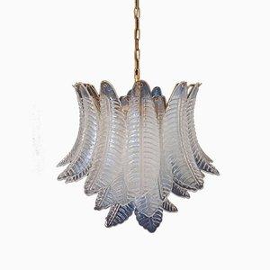 Italian Opaline Murano Felci Glass 6-Tier Ceiling Lamp, 1970s