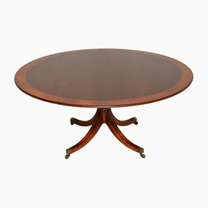 Large Vintage Regency Style Inlaid Mahogany Dining Table from William Tillman, 1970s