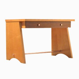 French Midcentury Tricolor Wood Desk by Jacques Adnet