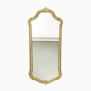 Mid-Century Gold and Ivory Colored Curved Wooden Wall Mirror from Münchner Zier-Form, 1950s