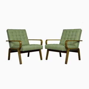 Vintage Czechoslovak Beech and Green Fabric Lounge Chairs by Ludvik Volàk for Drevopodnik Holesov, 1970s, Set of 2