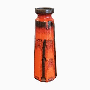 Orange and Black Ceramic Costa Decor Nr. 848/1 Vase from Ruscha, 1970s