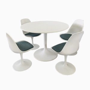 Vintage Tulip Dining Table & Chairs Set in the Style of Eero Saarinen, 1980s, Set of 5