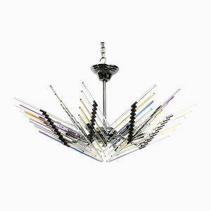 Large Italian Chrome and Iridescent Glass Rods Ceiling Lamp, 1980s