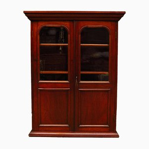 Antique Glazed Mahogany Book Cabinet