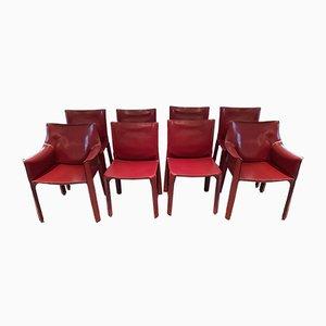 Chaises de Salon Cab en Cuir Rouge par Mario Bellini pour Cassina, 1970s, Set de 8