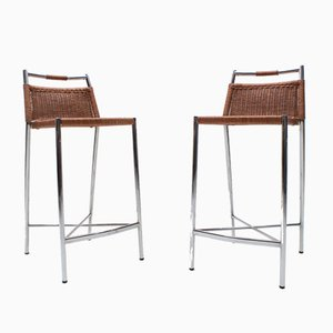 Chrome and Rattan Braiding Barstools with Backrests, 1980s, Set of 2