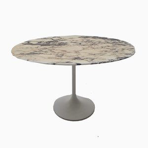 Oval Marble Side Table on Tulip Base, 1960s
