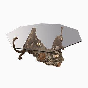 Skulpturaler Tisch aus Bronze in Bronze-Optik, 1960er