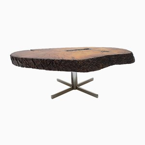 Rotating Tree Trunk Coffee Table with Cross Base, 1960s