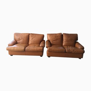 Italian Fawn Leather 2-Seat Sofas by Brunati, 1980s, Set of 2