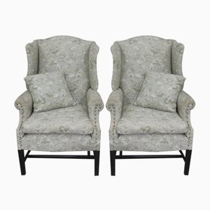 Wingback Armchairs in Grey, 1940s, Set of 2