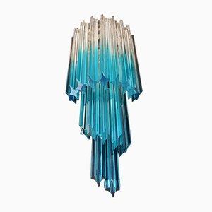 Vintage 32 Quadriedri Transparente und Blaue Prisma Wandlampen aus Muranoglas, 1978, 2er Set