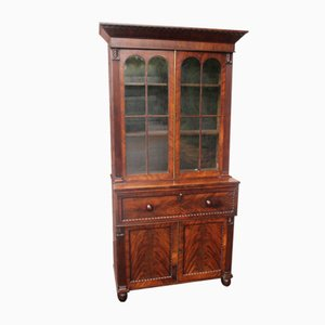 Mahogany Secretaire Bookcase with Key, 1900s