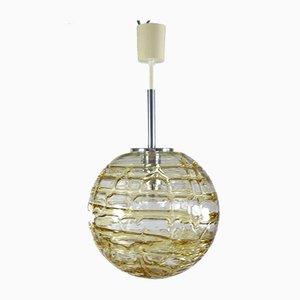 Lampe à Suspension Balle Mid-Century en Ambre et Verre Transparent de Doria Leuchten, 1960s