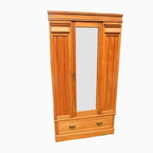 Satin Walnut 1-Door Mirrored Wardrobe, 1920s