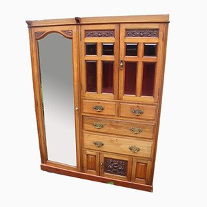 Large Satin Walnut Mirrored Combination Wardrobe, 1920s
