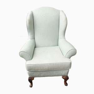Mahogany Pale Green Wingback Armchair, 1940s